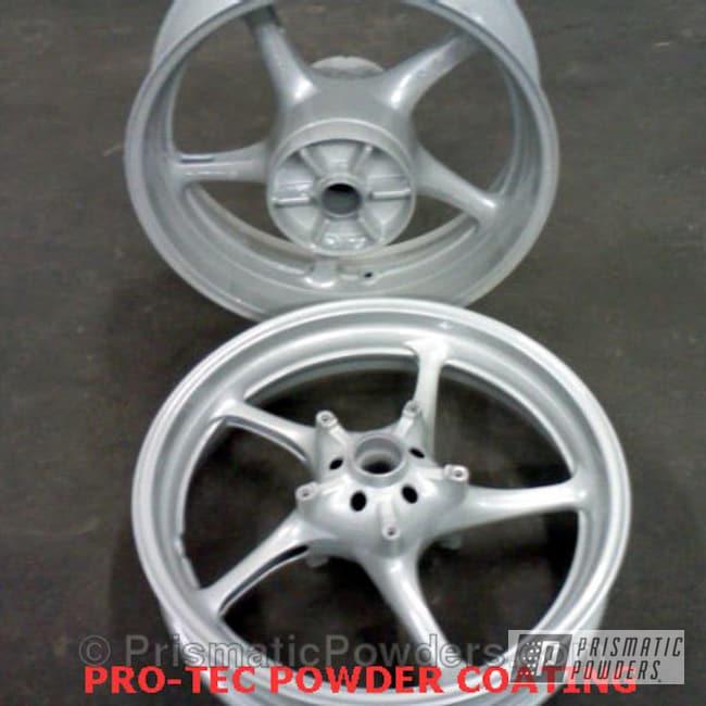 Powder Coating: Wheels,Clear Vision PPS-2974,Sport Bike Wheels,White Silver Plus PMB-4823