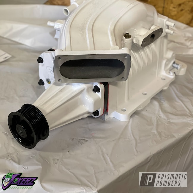 Powder Coating: Automotive,Ford Supercharger,Gloss White PSS-5690,Car Parts,Ford,Lightning,Supercharger