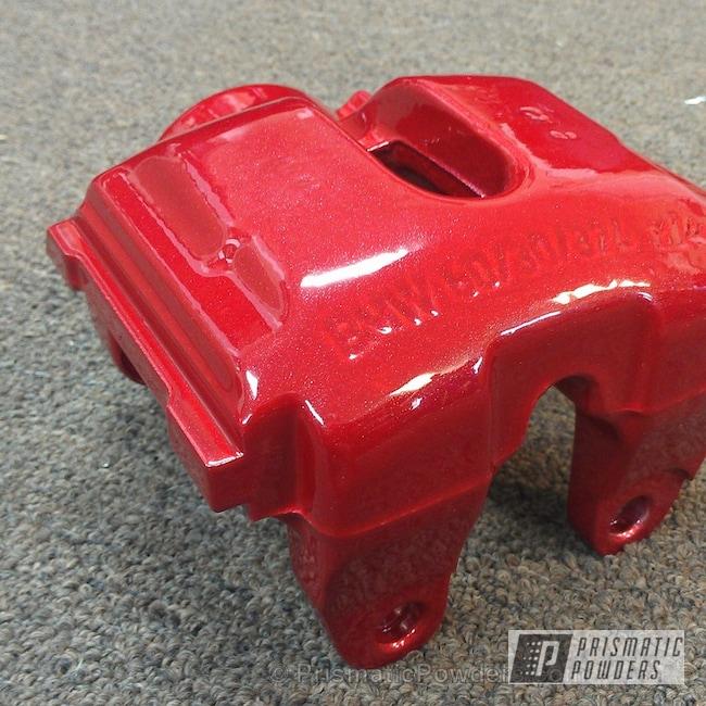 Powder Coating: DAZZLING RED UPB-1453,Automotive,Silver Sparkle PPB-4727,BMW 5 Series Brake Calipers,Powder Coated Brake Calipers,powder coating,powder coated,Prismatic Powders,Custom Brake Calipers