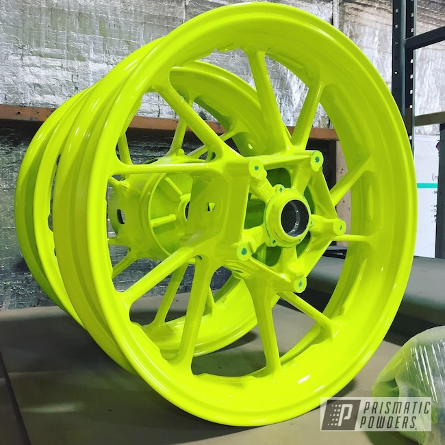 Powder Coating: Wheels,Neon Yellow PSS-1104,Motorcycle Wheels