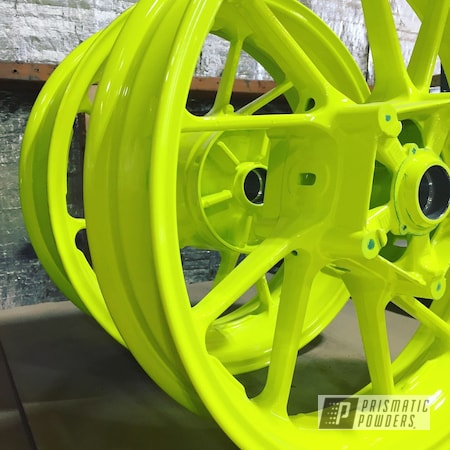 Powder Coating: Wheels,Neon Yellow PSS-1104,Motorcycle Wheels