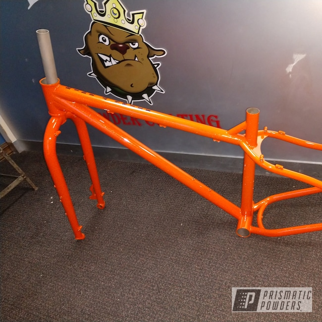 Powder Coating: Shattered Glass PPB-5583,Bicycles,BLACK JACK USS-1522,Bike Frame,RAL 2001 Red Orange,Bicycle Frame