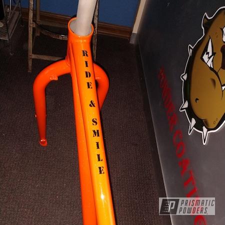 Powder Coating: Shattered Glass PPB-5583,Bicycles,BLACK JACK USS-1522,Bike Frame,RAL 2001 Red Orange,Bicycle Frame