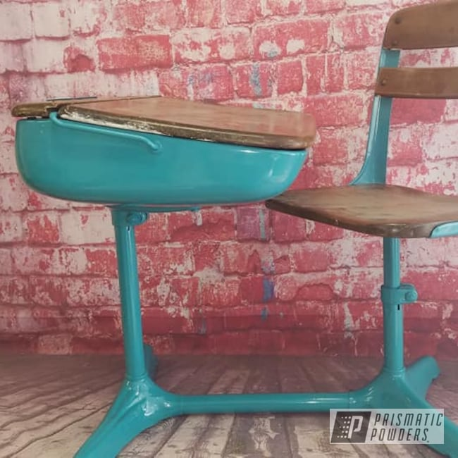 Powder Coating: Vintage,RAL 5018 Turquoise Blue,Vintage School Desk,School Desk,Vintage Desk,Desk