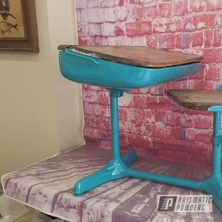 Powder Coating: Vintage,RAL 5018 Turquoise Blue,Vintage School Desk,School Desk,Vintage Desk,Desk