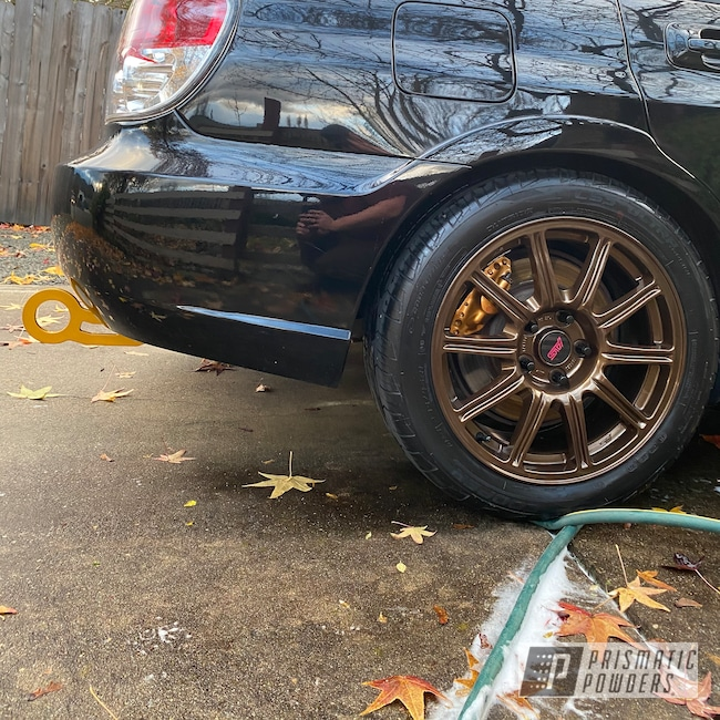"Powder Coating: Wheels,GOLDEN BROWN UMB-4133,Subaru STI Wheels,Rims,17"" Aluminum Rims,Subaru,Aluminum Wheels"