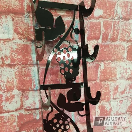 Powder Coating: Metal Art,Ink Black PSS-0106,Wine Bottle Rack,Grapes,Wine,ink black,Household