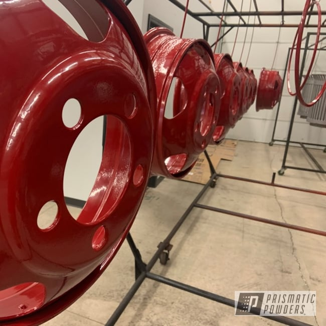 Powder Coating: Wheels,Dually,Antique Restoration,Dually Split Rims,1954 Dodge,Bellrose Red PSS-2266,Dually Rims
