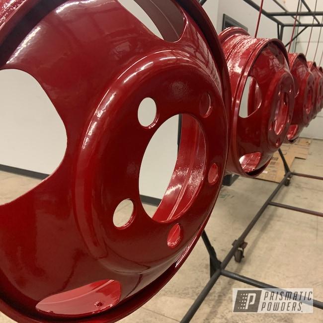 Powder Coating: Wheels,Dually,Antique Restoration,Dually Split Rims,1954 Dodge,Bellrose Red PSS-2266,Dually Rims