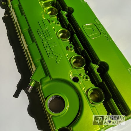 Powder Coating: Automotive,Two Stage Application,Civic,Honda,SUPER CHROME II PSS-10300,Vtec,DOHC,Valve Cover,Shocker Yellow PPS-4765