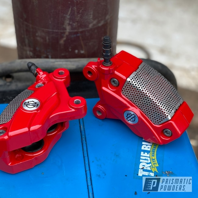 Powder Coating: Harley Davidson,Calipers,Firecracker Red PSB-6500,Brake Calipers,Aluminum,Motorcycles,Brake