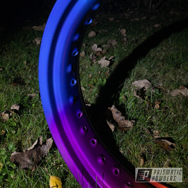 """Powder Coating: JAMAICAN TEAL UPB-2043,Motorcycle Rims,DUSTED CANDY BLUE UPB-6743,Rims,17"""" Aluminum Rims,Neon Yellow PSS-1104,Neon Green PSS-1221,Candy Purple PPS-4442"""