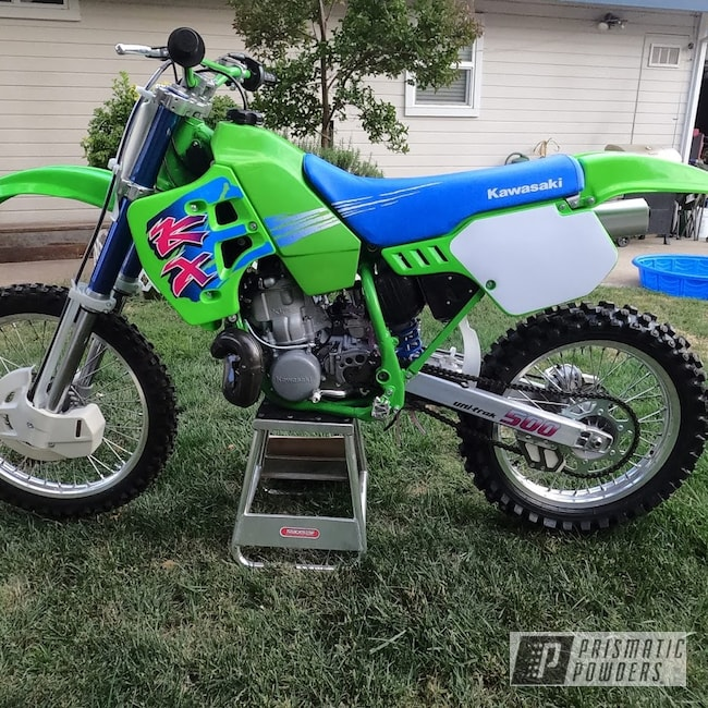 Powder Coating: Kawasaki,Motorcycle Frame,RAL 6018 Yellow Green,Motorcycles,KX500