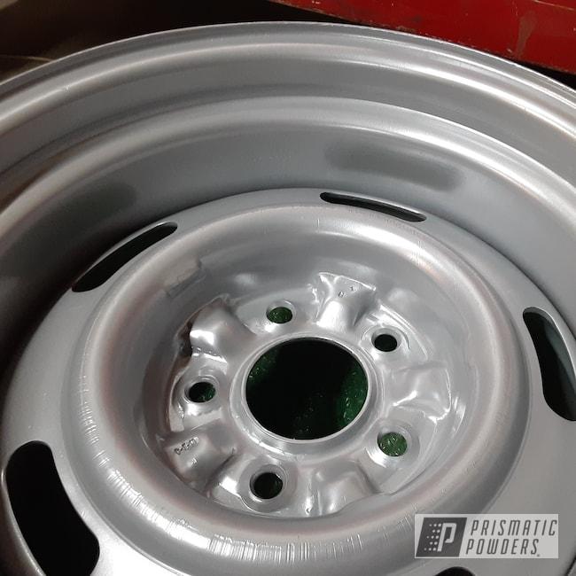 Powder Coating: Wheels,Chevrolet,Rally Silver PMB-4241,Camaro,Steel Rims