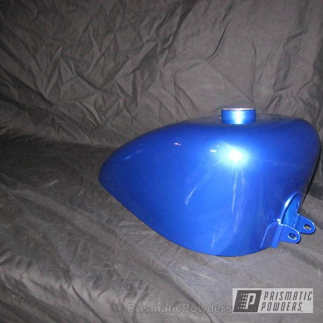 Powder Coating: Prismatic,SUPER CHROME USS-4482,chrome,Candy Blue Harley Tins,Peeka Blue PPS-4351,powder coating,powder coated,Motorcycles