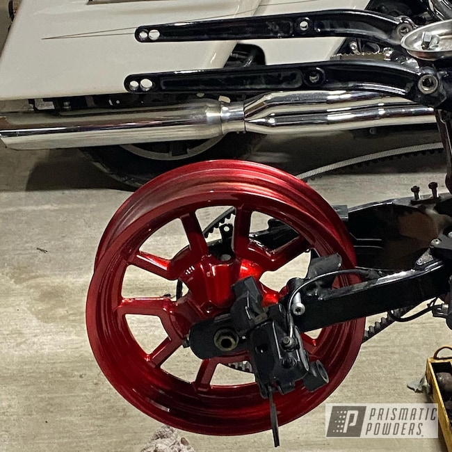 "Powder Coating: Harley Davidson,2 Color Application,LOLLYPOP RED UPS-1506,SUPER CHROME II PSS-10300,Dyna,19"" Aluminum Rims,Motorcycle Rim"