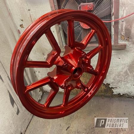 "Powder Coating: Harley Davidson,2 Color Application,LOLLYPOP RED UPS-1506,SUPER CHROME II PSS-10300,Dyna,19"" Aluminum Rims,Motorcycle Rim"