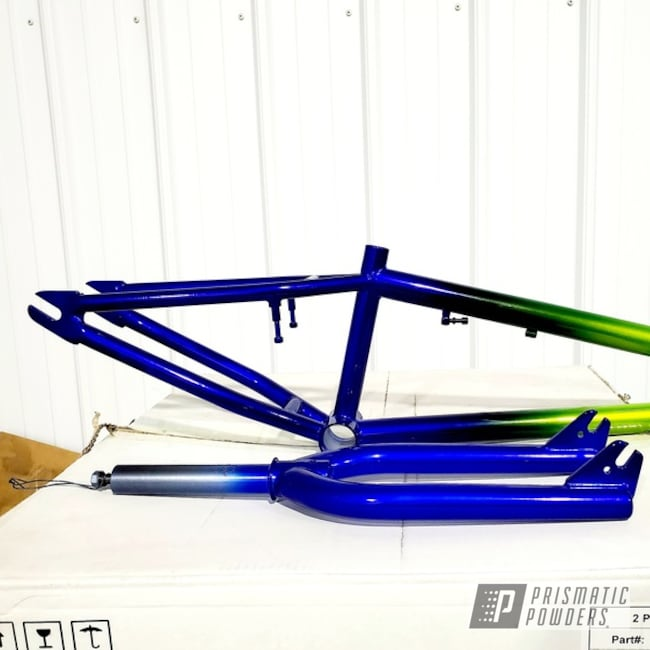 Powder Coating: 2 Color Application,POLISHED ALUMINUM HSS-2345,Color Fade,Intense Blue PPB-4474,BMX,Bicycle Frame,Shocker Yellow PPS-4765