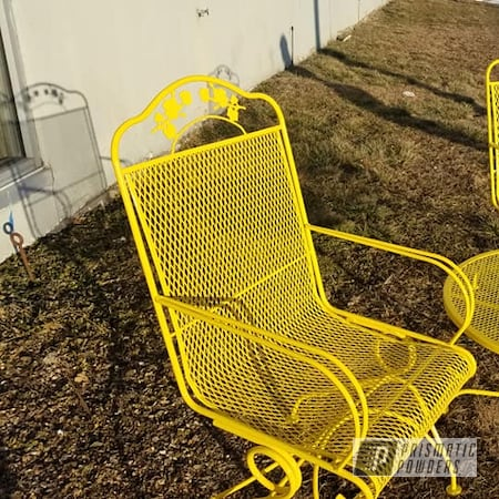 Powder Coating: Vintage Chairs,Patio Chairs,Outdoor Furniture,RAL 1018 ZincYellow,Patio Chair,Lawn Chairs