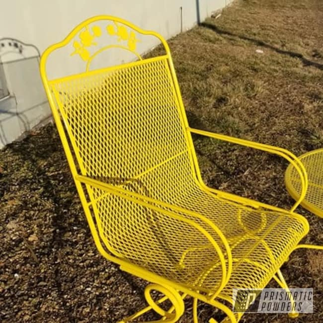 Powder Coating: Vintage Chairs,Patio Chairs,Outdoor Furniture,RAL 1018 Zinc Yellow,Patio Chair,Lawn Chairs