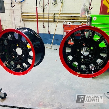 Two Tone Wheels Powder Coated In Astatic Red And Gloss Black