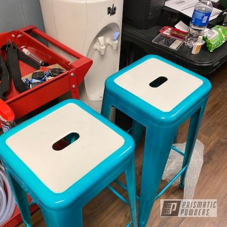 Powder Coating: Pool Bar Chairs,Bar Stool,HD TEAL UPB-1848,Gloss White PSS-5690,Bar Stools