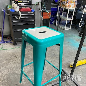 Stools Powder Coated In Gloss White And Hd Teal