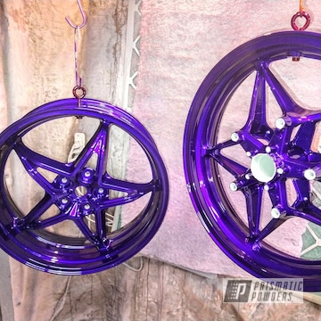 Aluminum Motorcycle Wheels And Parts Powder Coated In Illusion Purple