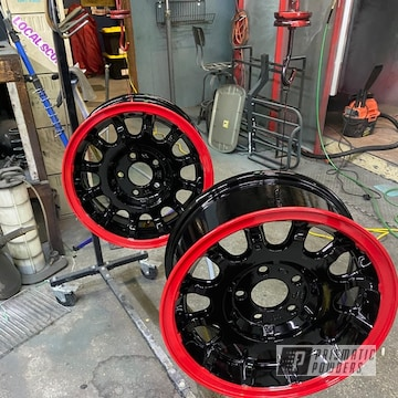 Ford Lincoln Aluminum Wheels Powder Coated In Gloss Black And Astatic Red