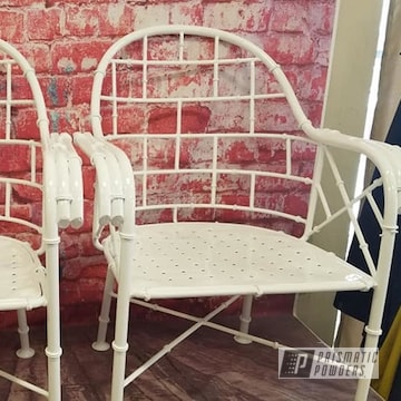 Outdoor Patio Chairs Powder Coated In Gloss White