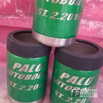 Custom Koozies Powder Coated In Illusion Apple Sugar With Clear Vision