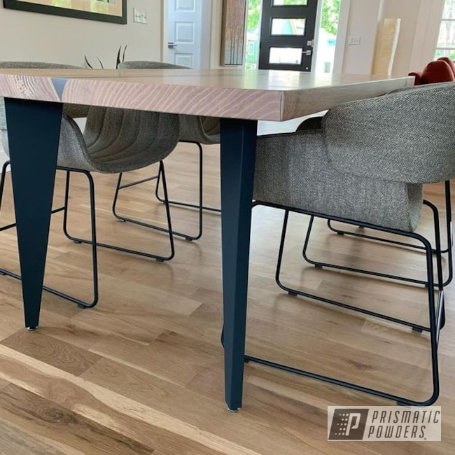 Dining Table Set Powder Coated In Ral 5008 And Matte Clear