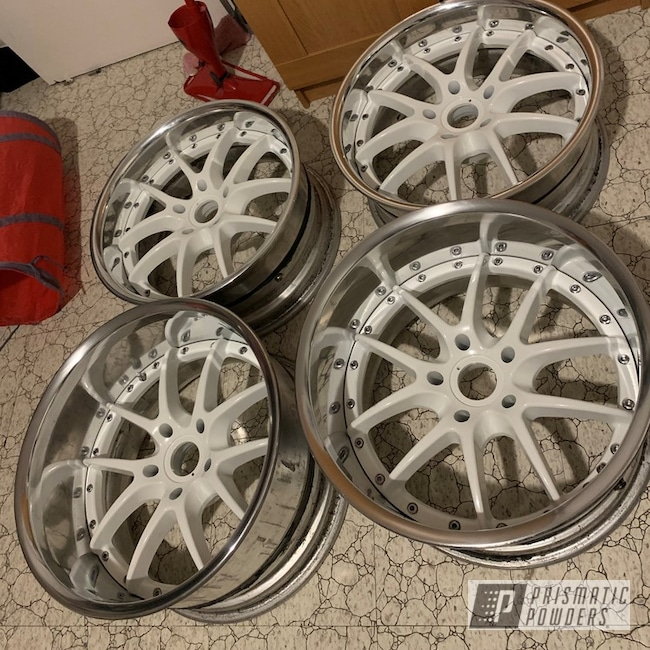 Powder Coating: Automotive,S2000,Powder Coated ROUE 22'' Wheels,Polar White PSS-5053,Aluminum Wheels