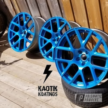 Powder Coated Dodge Challenger Alloy Wheels Coated In Bad Blue And Silver Sparkle