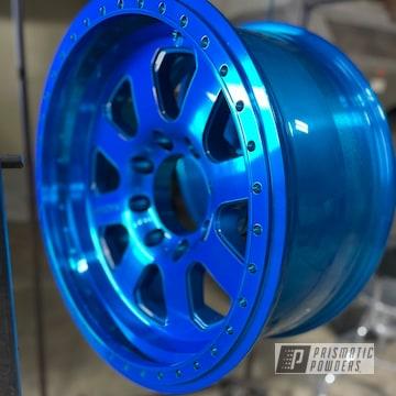 """20"""" Raceline Beadlock Alloy Wheels Powder Coated In Anodized Blue."""