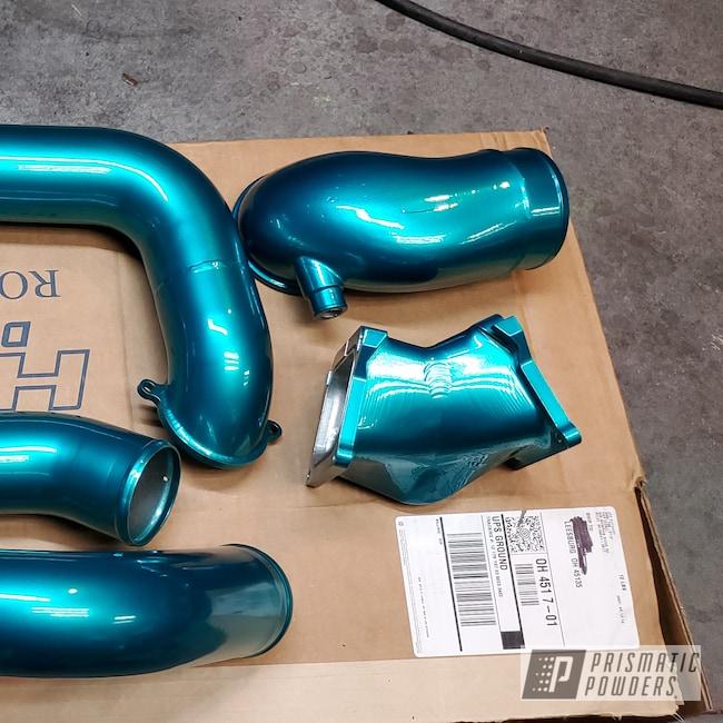 Powder Coating: Automotive,POLISHED ALUMINUM HSS-2345,Intake Pipes,Cortez Teal PPS-4477