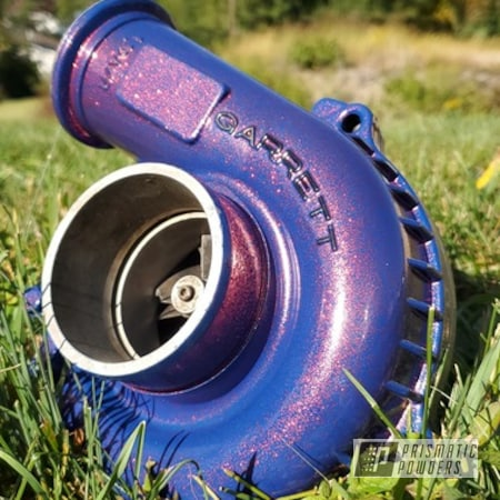 Powder Coating: Automotive,Turbo Parts,Two Stage Application,Garrett Turbo,Turbo,Super Red Sparkle PPB-4694,Ford Dark Blue PSB-4624