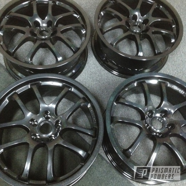 Powder Coating: Wheels,Clear Vision PPS-2974,Iridescent Black Wheels,Rainbow's End PMB-2691