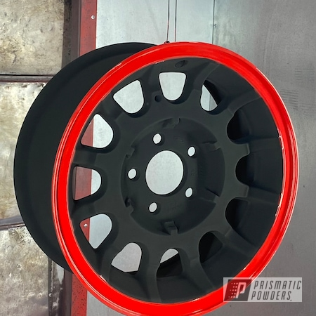 "Powder Coating: Wheels,Town Car,Ford Wheels,17"" Aluminum Rims,GLOSS BLACK USS-2603,Lincoln,Two Tone Wheels,Two Tone,Astatic Red PSS-1738,Aluminum Wheels"