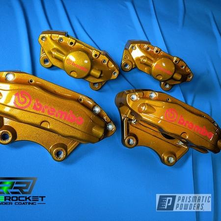 Powder Coating: Calipers,Clear Vision PPS-2974,Illusion Dorado PMB-6921,Brembo,Brake Calipers,Subaru,Brembo Brake Calipers,Subaru Calipers