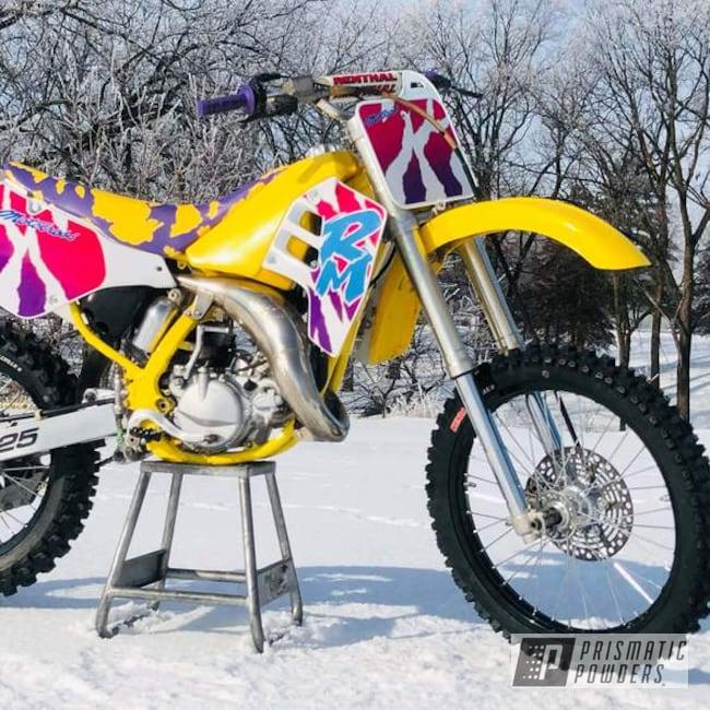 Powder Coating: POLISHED ALUMINUM HSS-2345,Custom Bike Restoration,Bike Parts,Restoration,Suzuki,RAL 1018 ZincYellow,Motorcycles,Dirtbike
