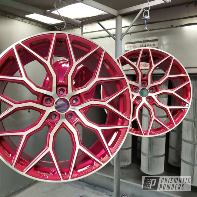 Powder Coated Two Tone Vossen Wheels In Ppb-5935 And Pms-0517