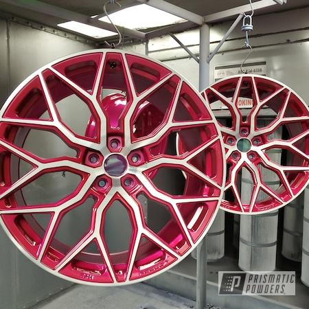 Powder Coating: Wheels,Vossen Wheels,Candy Raspberry PPB-5935,Heavy Silver PMS-0517,Rims,Two Tone Wheels,Two Tone,Two Toned,Automotive Wheels