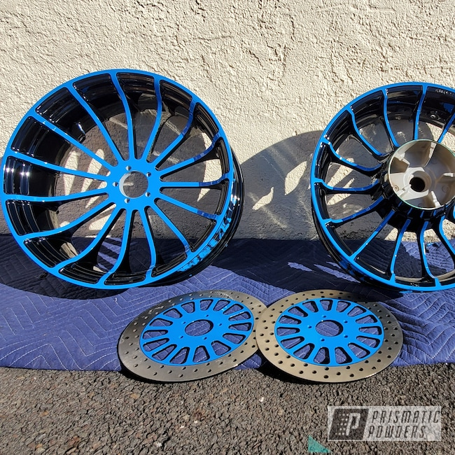 Powder Coating: Wheels,Motorcycle Rims,Motorcycle Parts,GLOSS BLACK USS-2603,Playboy Blue PSS-1715,Two Tone Wheels,Two Tone,Brake Rotors