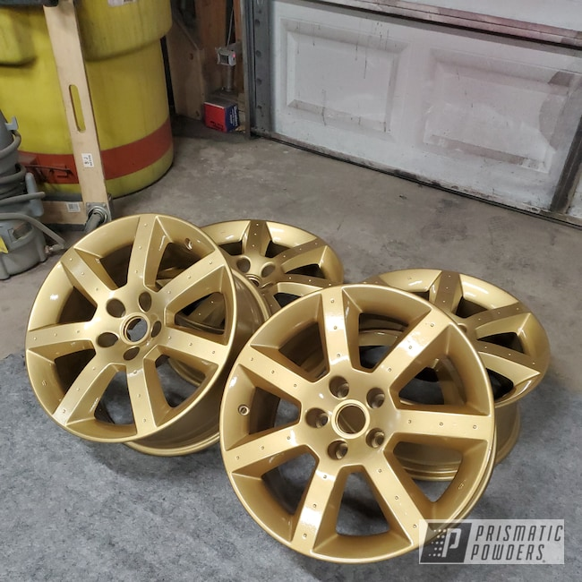 "Powder Coating: Wheels,350z,Clear Vision PPS-2974,Nissan,Rims,17"" Aluminum Rims,Spanish Gold EMS-0940"