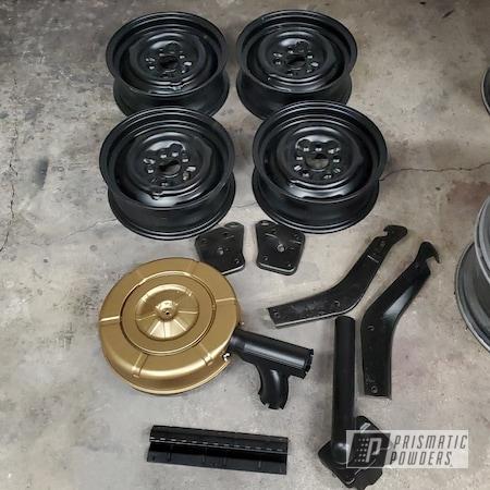 "Powder Coating: Automotive,Air Cleaner,15"" Aluminum Rims,Bumper Brackets,Ford,Silk Satin Black HSS-1336,Spanish Gold EMS-0940,Automotive Parts,Mustang"