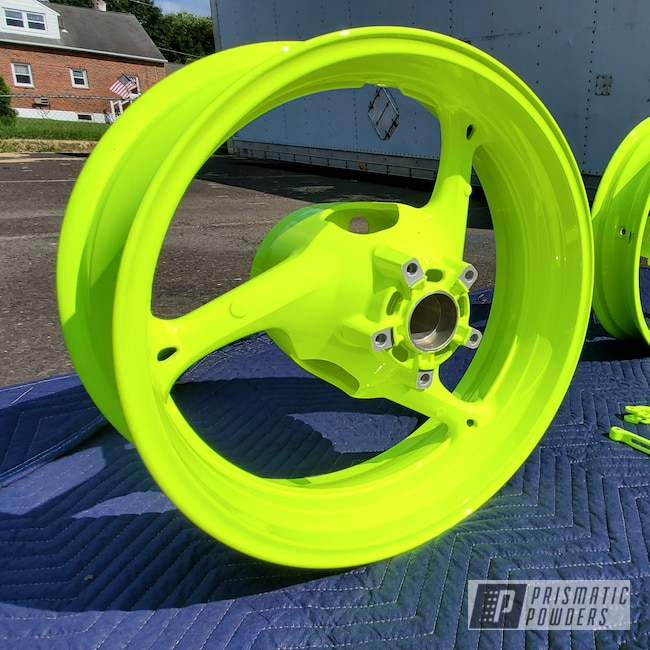 Powder Coating: Wheels,Clear Vision PPS-2974,Motorcycle Parts,Neon Yellow PSS-1104,Motorcycle Wheels,Motorcycles