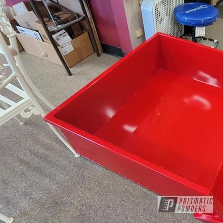 Powder Coating: Dump Box,Tractor Parts,Custom Tractor Box,RAL 3002 Carmine Red,Garden Tractor