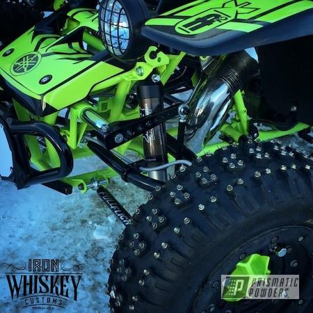 Powder Coating: ATV Frame,ATV,Banshee,banshee frame,Chartreuse Sherbert PSS-7068,Ink Black PSS-0106,ATV Parts