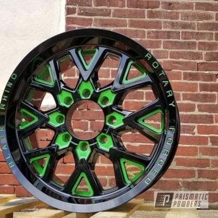 Powder Coating: Wheels,Automotive,Rims,Ink Black PSS-0106,Two Tone Wheels,Sweet Pea Green PSS-1070,Two Tone,Two Toned,Automotive Wheels